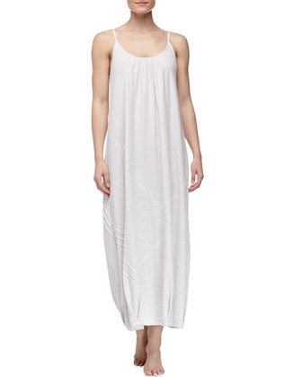 Long Pima Cotton Tank Nightgown, Gray