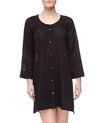 Long-Sleeve Batiste Short Gown, Black