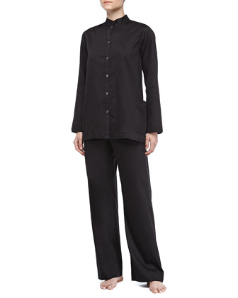 Long-Sleeve Sateen Pajama Set, Black