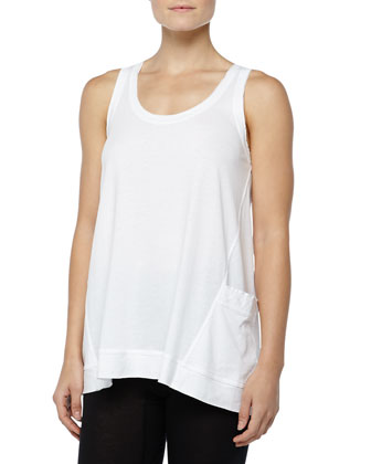 Long Pima Jersey Lounge Tank, White