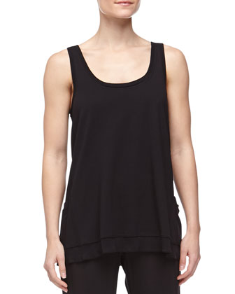 Long Pima Jersey Lounge Tank, Black