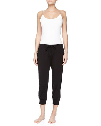 Pima Cotton Drawstring Capri Pants, Black