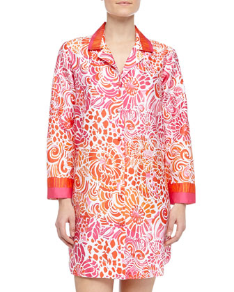 Batik Tiger Lily Swirl Print Sleepshirt, Orange/Pink