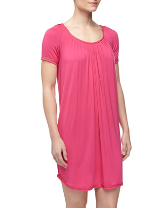 Elegance Jersey Short Nightgown, Brilliant Fuchsia