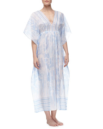 Rose Trellis-Print Long Lawn Caftan, Blue