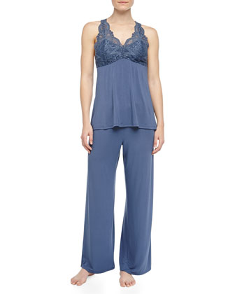 Belle Epoque Lace Detailed Pajamas, Deep Storm