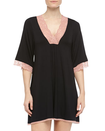 Sweet Escape Lace-Trimmed Sleepshirt, Black