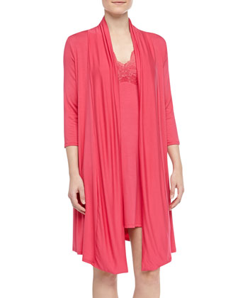 Belle Epoque Short Robe, Fire Coral