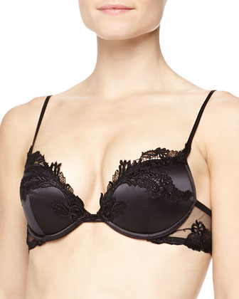 Ricamato Embroidered Satin Push-Up Bra, Brazilian Brief & Garter Belt, Black
