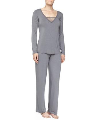 Studio Lily Floral Mesh Pajama Set, Charcoal