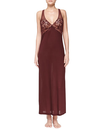Pizzo Elastico Lace-Trim Long Gown