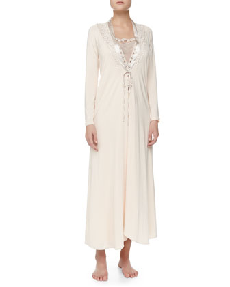 Tulle Ricamato Lace-Trim Long Robe and Tank Gown