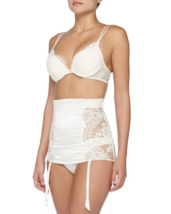 Pizzo Floral Fringed Lace Underwire Bra, Waist-Cincher & Brazilian Panty, Ivory