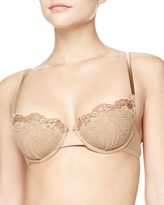 Embroidered Tulle Balconette Bra