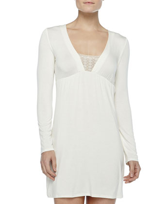 Studio Long-Sleeve Short Gown, Winter White