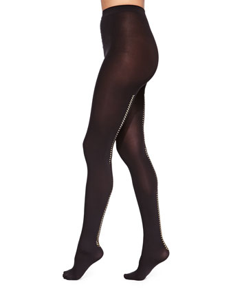 Velvet 66 Zip Tights, Black/Gold