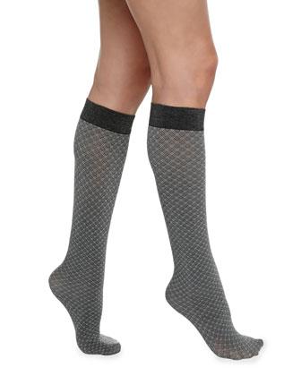 Yve Diamond-Check Knee-High Socks, Black/Ash
