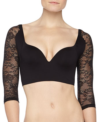 Betsy Lace-Sleeve Push-Up Bra & Trenta Relaxed Low-Rise Thong &