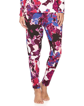 Parma Watercolor-Print Mesh Inset Top & Tapered Pants, Gemstone/Black