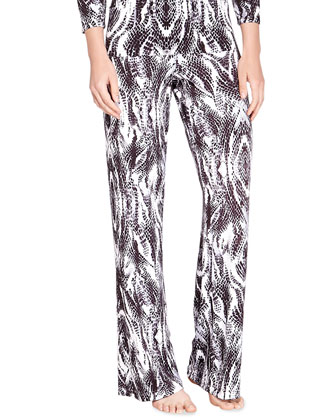Pordenone Snake-Print Wide-Leg Pants, Anthracite/Black