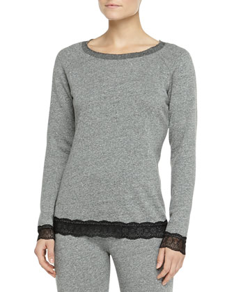 Cortina French Terry Lace-Trimmed Top, Heather Gray/Black