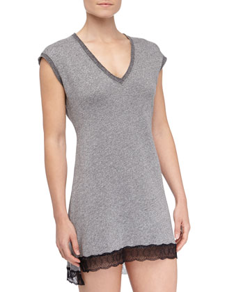 French Terry Cortina Chemise, Heather Gray/Black