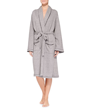 French Terry Hotel Robe, Heather Gray/Black