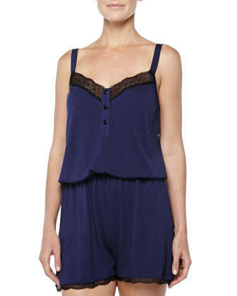 Perugia Medallion Lace-Trimmed Short Jumpsuit, Twilight/Black