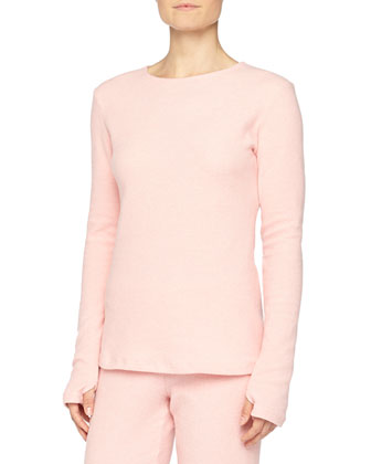 Aosta Long-Sleeve Fleece Top & Straight-Leg Pants, Rosa Sorbetto