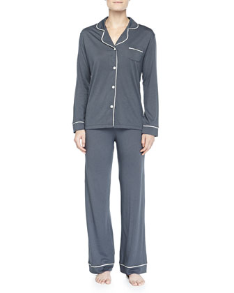 Bella Piped Solid Pajamas, Anthracite/Ivory