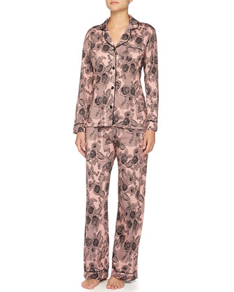 Bella Lace-Print Long-Sleeve Pajama Set