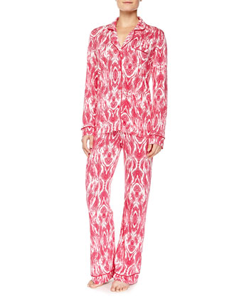 Bella Marquise-Print Long-Sleeve Pajama Set, Bright Grenadine