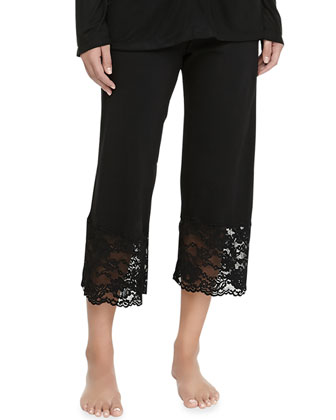 Ravello Lace-Trimmed Crop Pants, Black