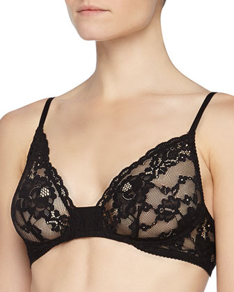 Ravel Wireless Floral Lace Bra, Black