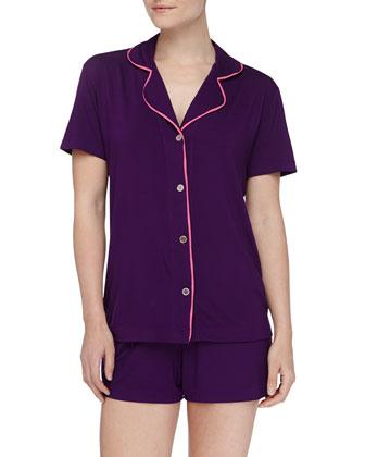 Bella Boxer-Short Jersey Pajama Set, Amethyst/Miami Pink