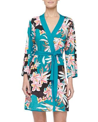 Ibisco Floral Print Short Robe & Talco Lace-Trim Chemise