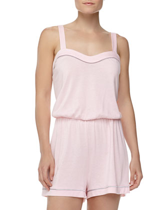 Bella Satin-Trim Jersey Jumpsuit, Pink Lily/Dove Gray