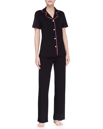 Bella Piped Short-Sleeve Pajamas, Black/Miami Pink