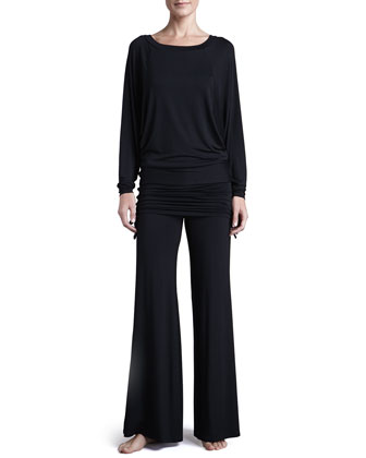 Lounge with Me Batwing Top and Fold Over Adjustable Palazzo Pant PJ ...