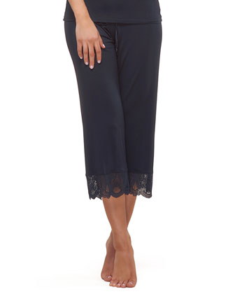 Belle Lace-Trim Crop Pants