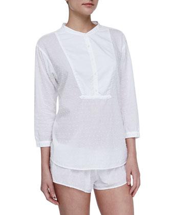 Shaya Cotton Poplin Lounge Shorts, White