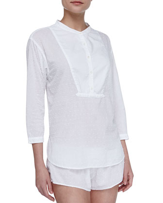 Ashley Swiss Dot Tuxedo Sleep Shirt, White