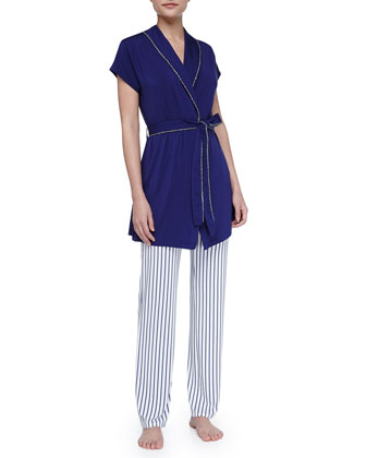 Rope-Trim Cap-Sleeve Robe, Navy
