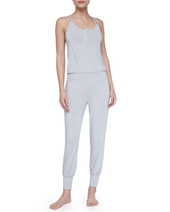 Genie Racerback Lounge Jumpsuit, Heather Gray