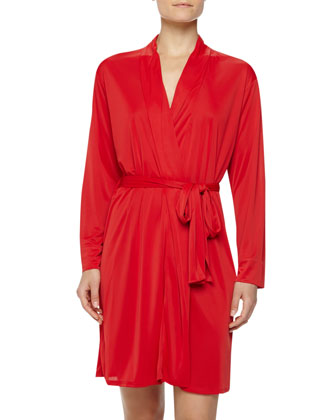 Negligee Slinky-Knit Short Robe, Regent Red