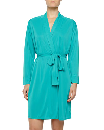 Negligee Slinky-Knit Short Robe, Turquoise