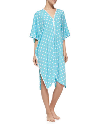 Dotted-Print Woven Caftan, Ice Blue