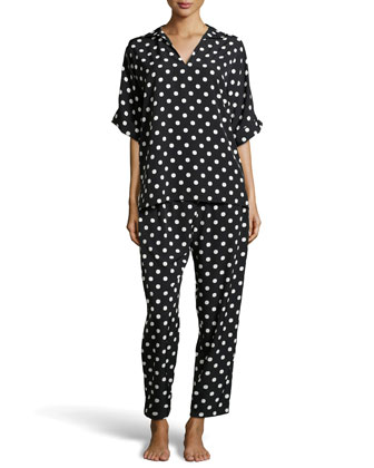 Modern Polka-Dot Pajama Set, Black