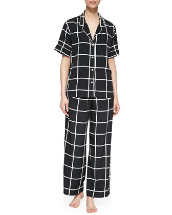 Short-Sleeve Windowpane Pajama Set, Black