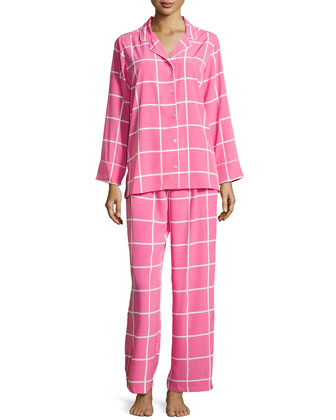 Windowpane Notched Pajama Set, Tropical Pink